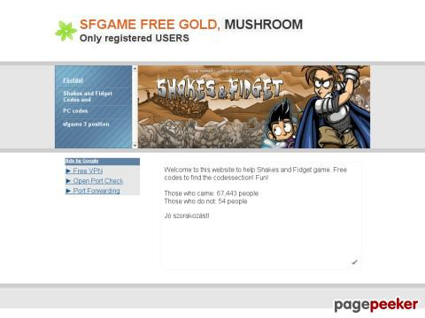 Sfgameport076 - Shakes and Fidget info